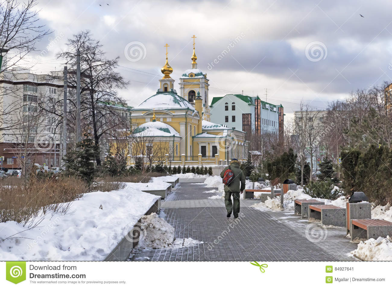 Moscow, Russian Federation - January 21, 2017 :Located in Transfiguration Square view of Church from adjacent garden