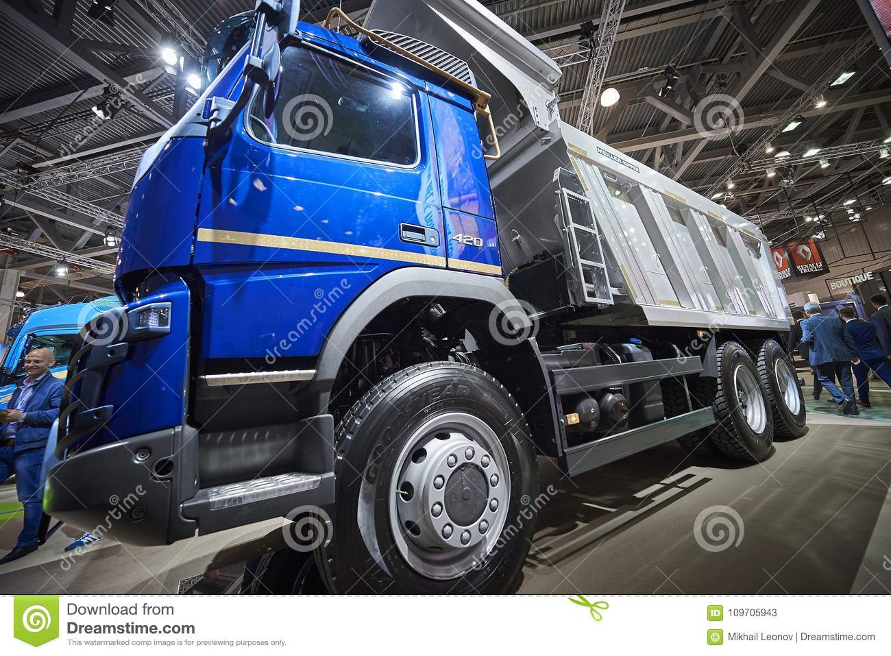 Volvo Exhibition Stand : Moscow sep close up view on volvo dump truck exhibit on