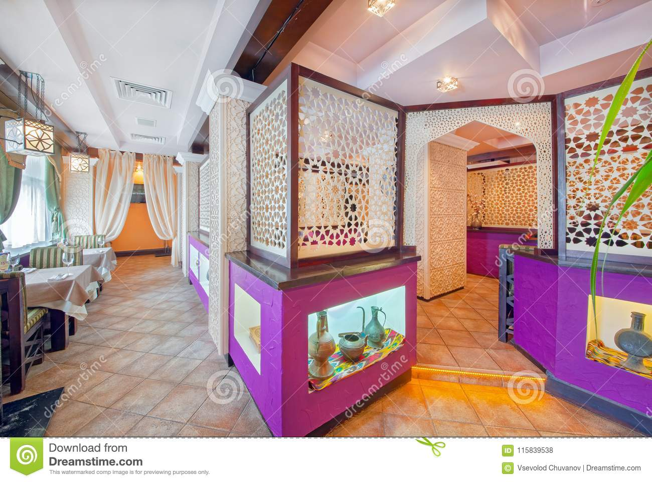 MOSCOW - SEPTEMBER 18: The Interior Of The Oriental Restaurant