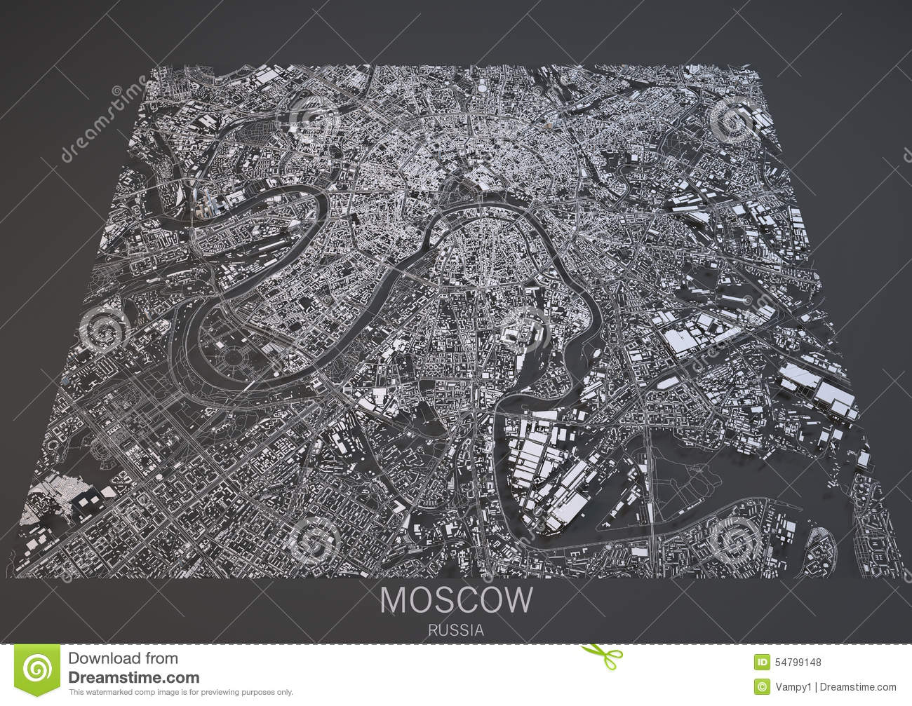 Moscow Streets And Buildings 3d Map Russia Stock Illustration