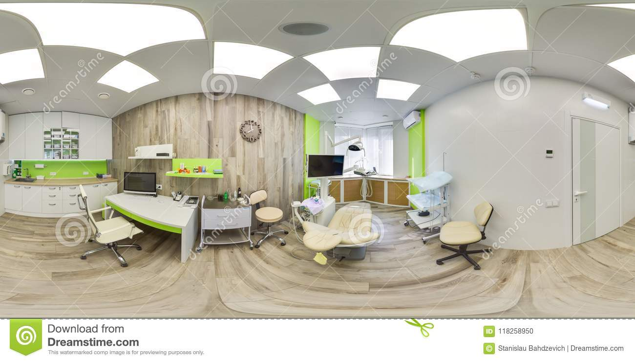 MOSCOW - SUMMER 2018, 3D spherical panorama with 360 viewing angle of the green modern dental office. Ready for virtual reality. F
