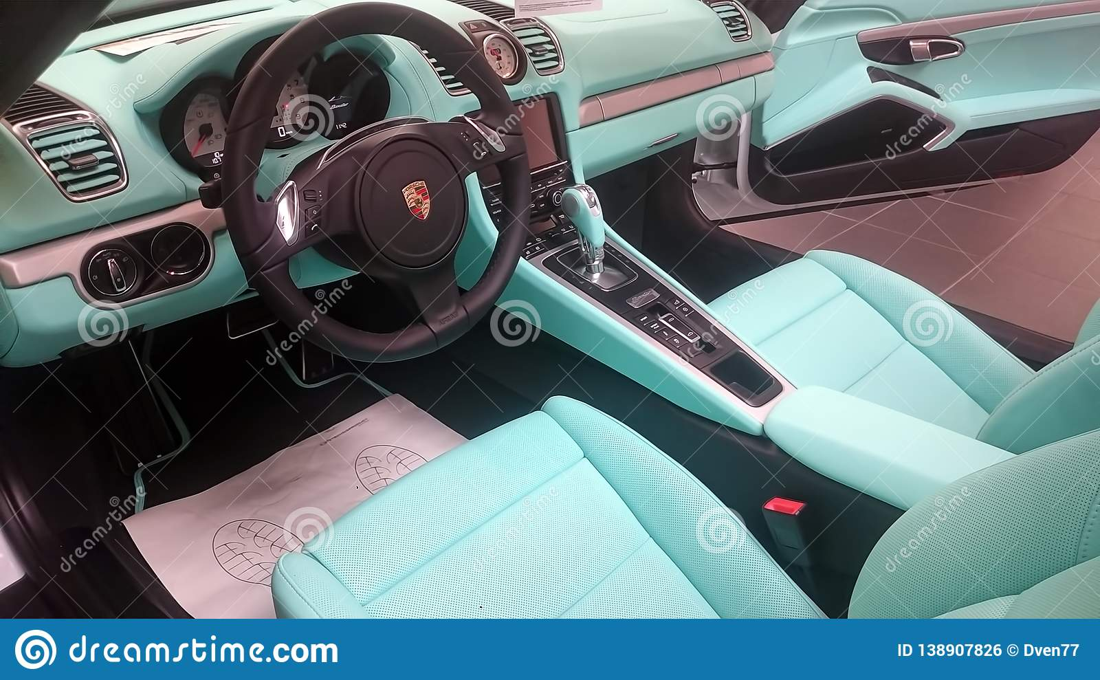 Moscow  Winter 2019  White Porsche Boxter With Mint Interior