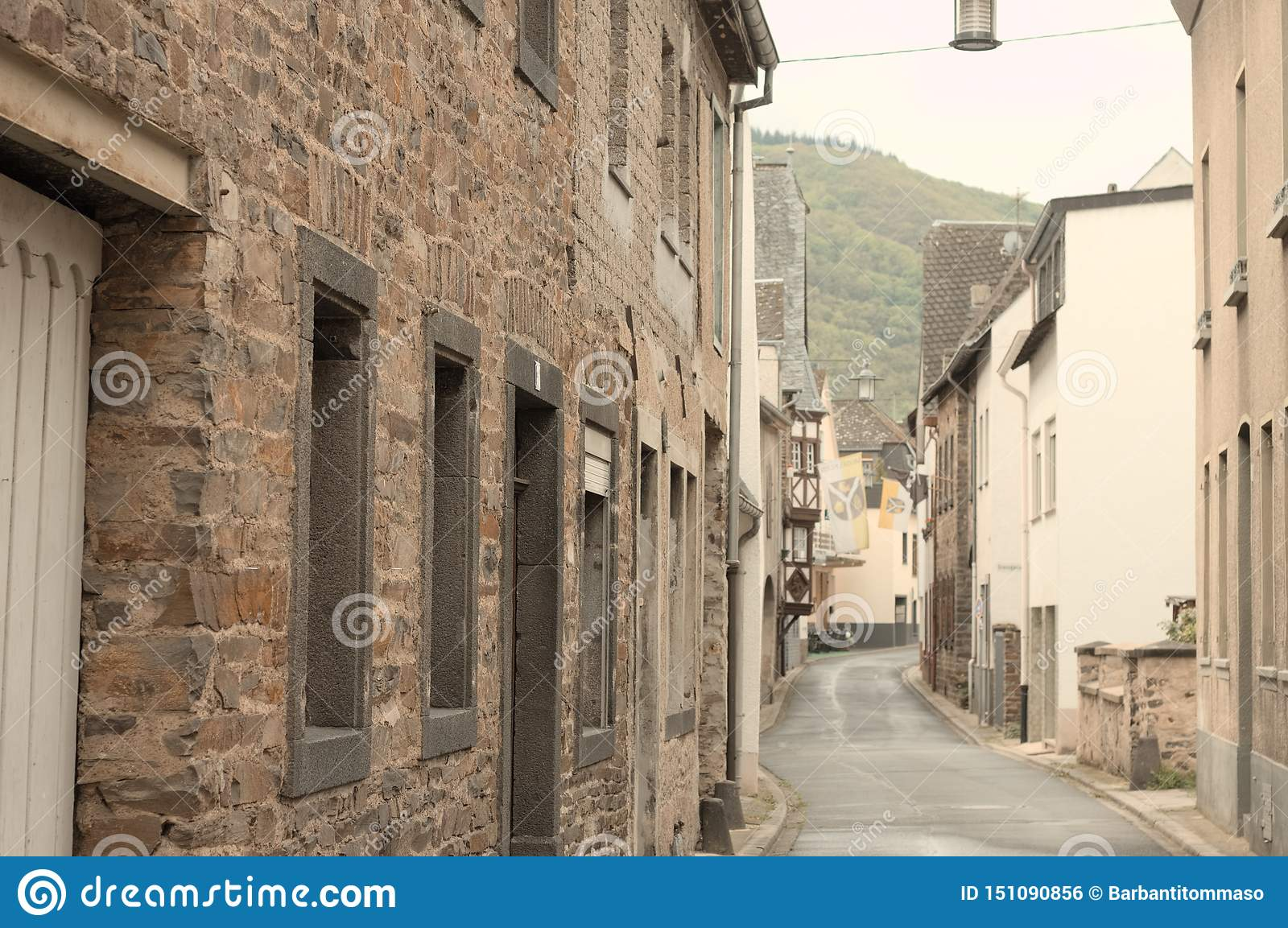 Moselkern, Germany: Traditional german street with brick houses