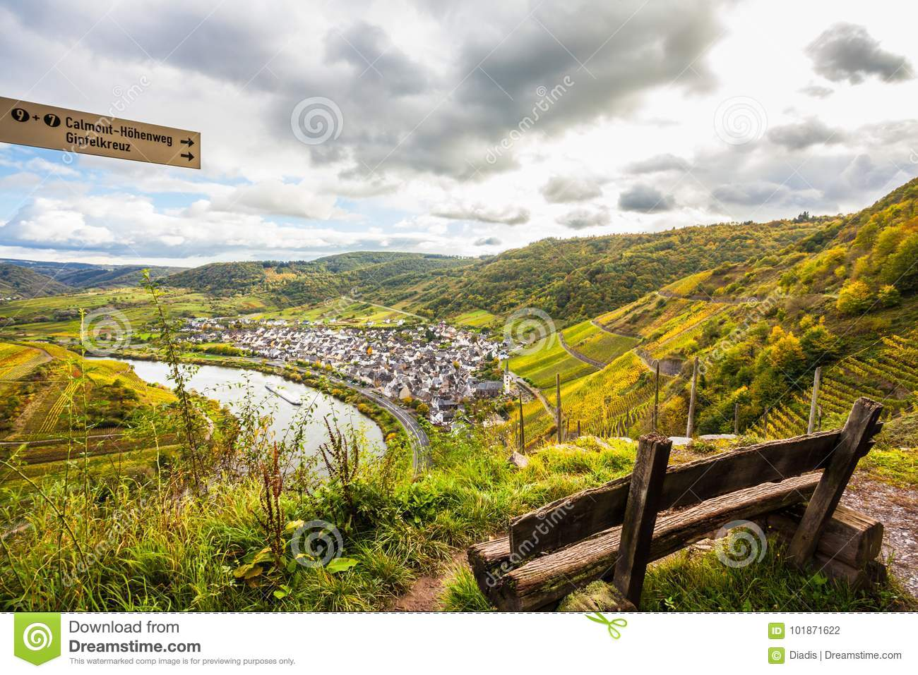 Klettersteig Germany : Calmont moselle landscape in autumn colors travel germany stock