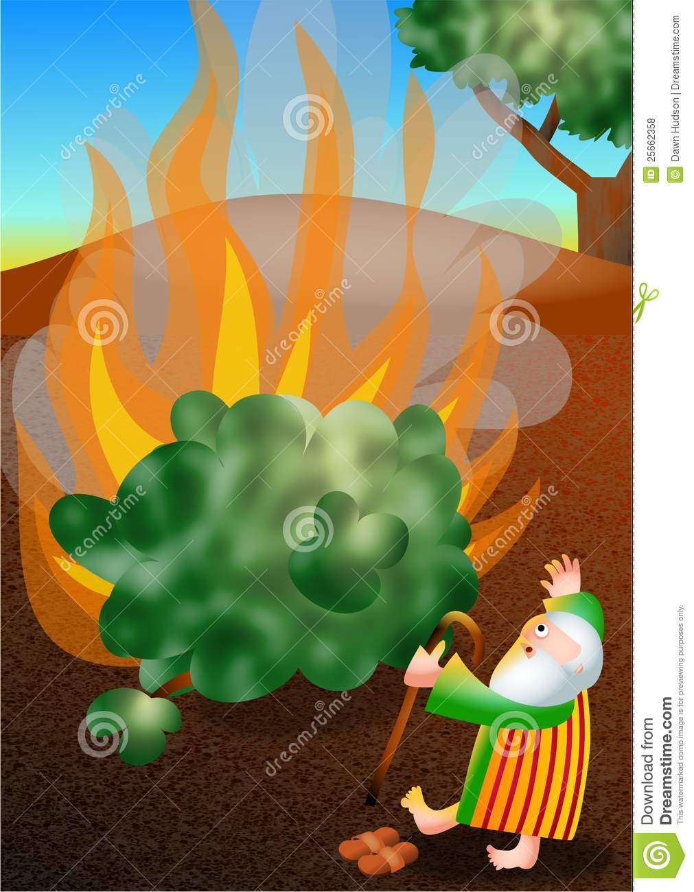 Moses And The Burning Bush Royalty Free Stock Photos - Image: 25662358
