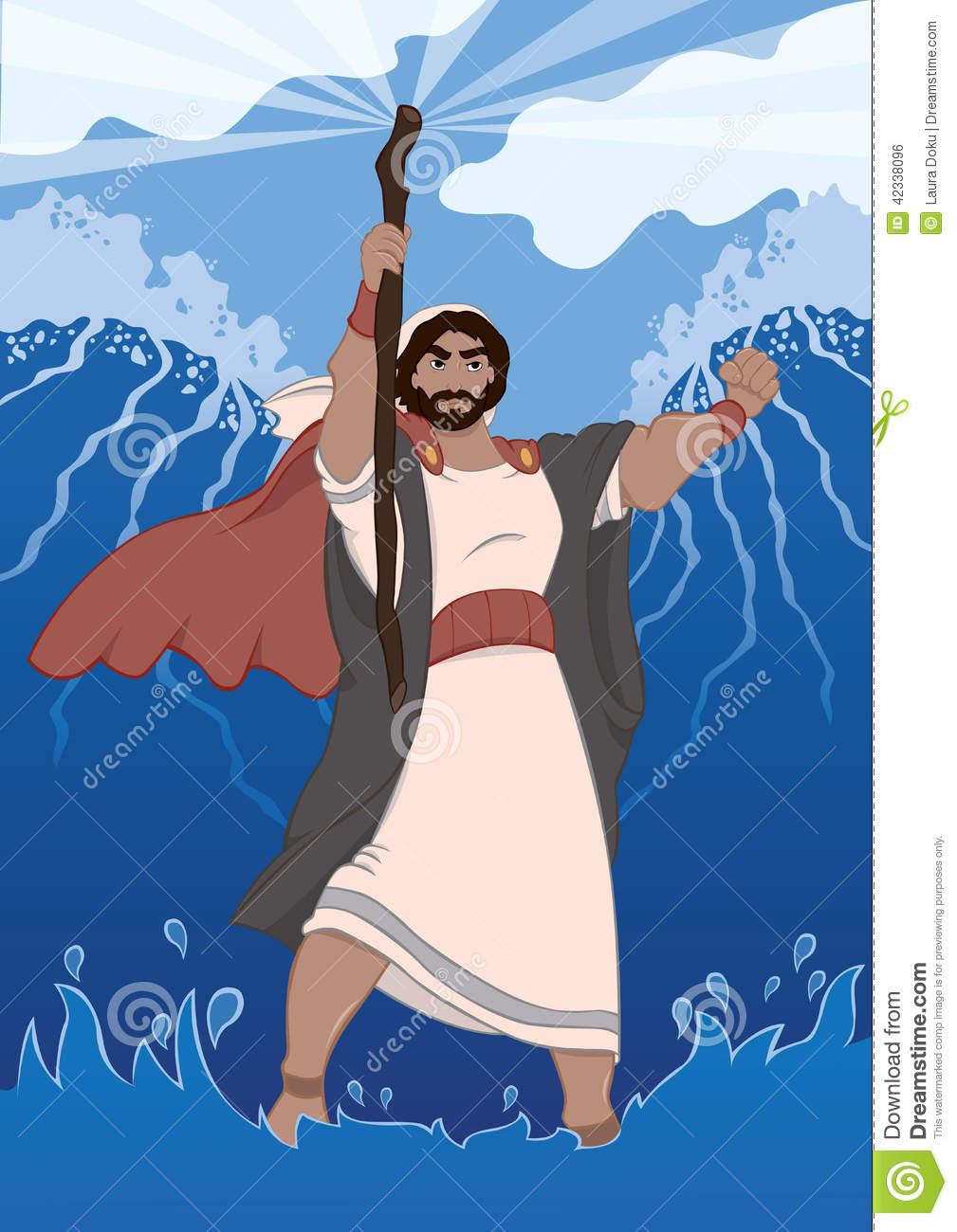 Moses Dividing The Red Sea Stock Vector