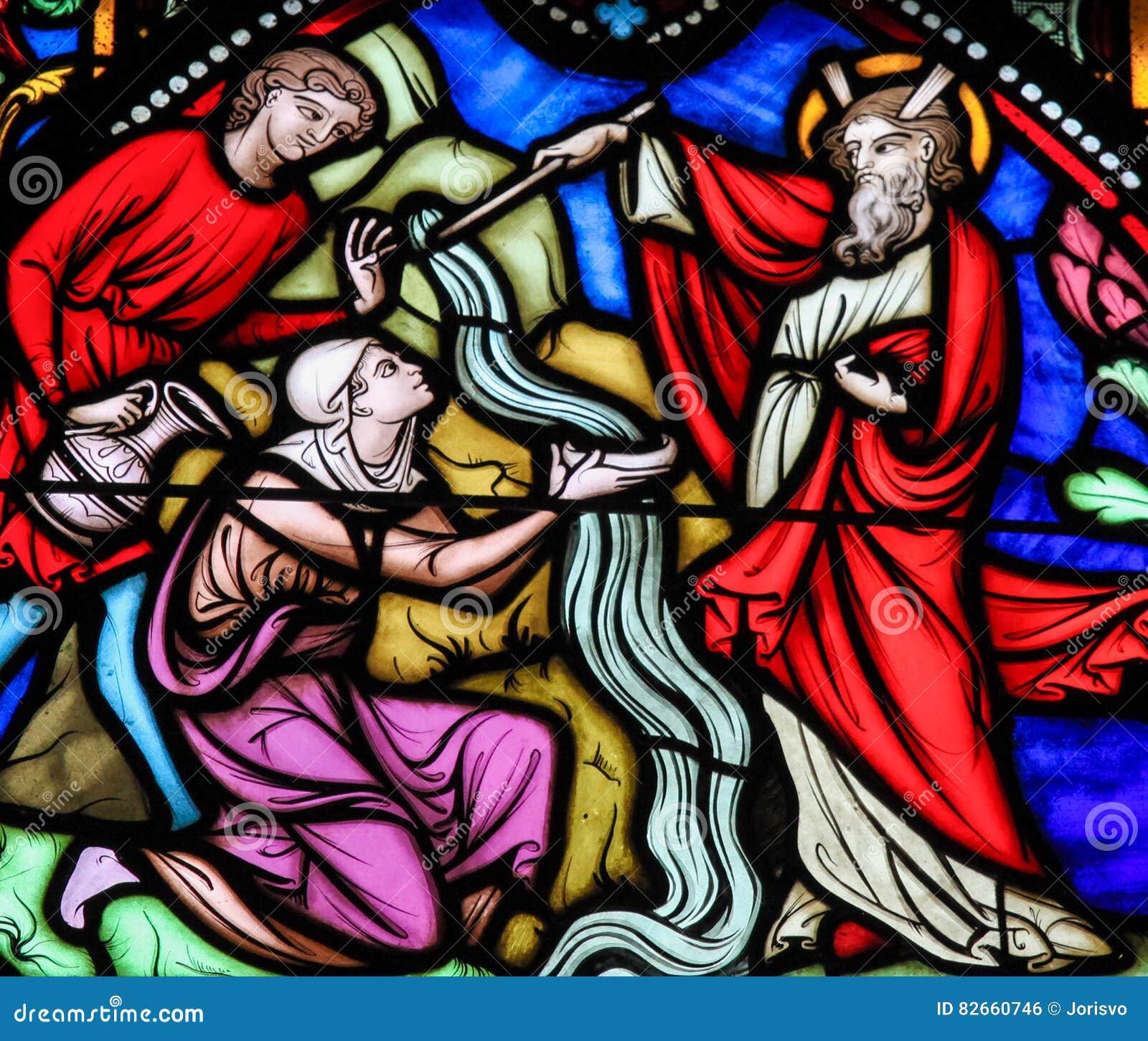 Moses klockas slagvatten från vagga - målat glass