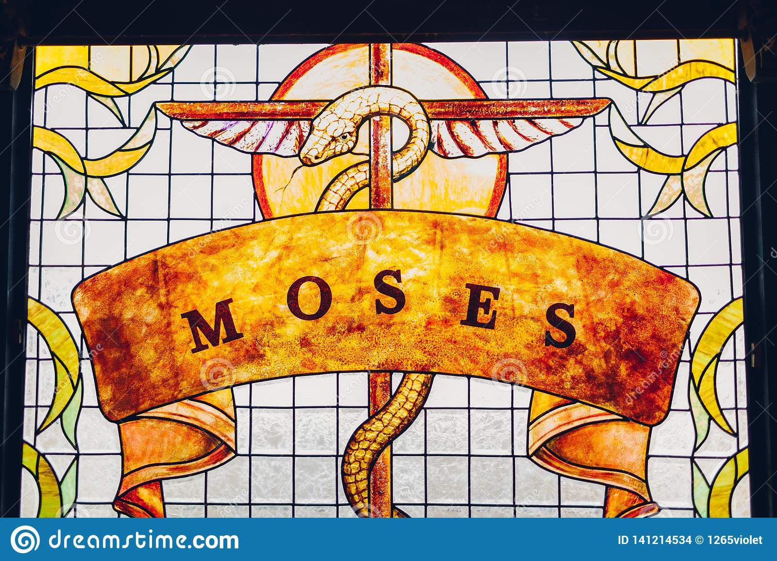 Stick On Stained Glass.Moses Painting On Stained Glass Window Brazen Serpent On