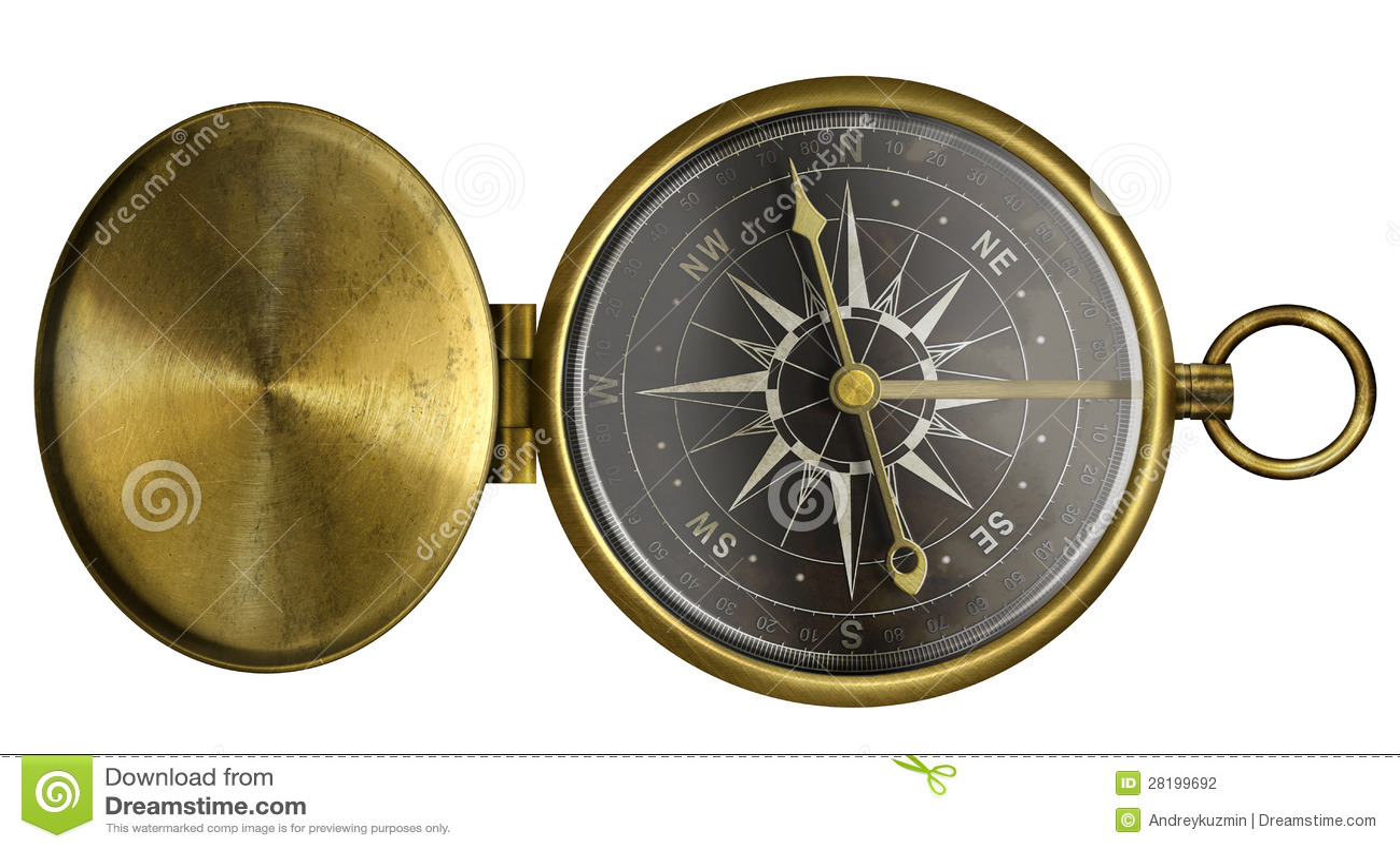 Mosiężny antyk kieszeni kompas z deklem i czerni skala odizolowywająca