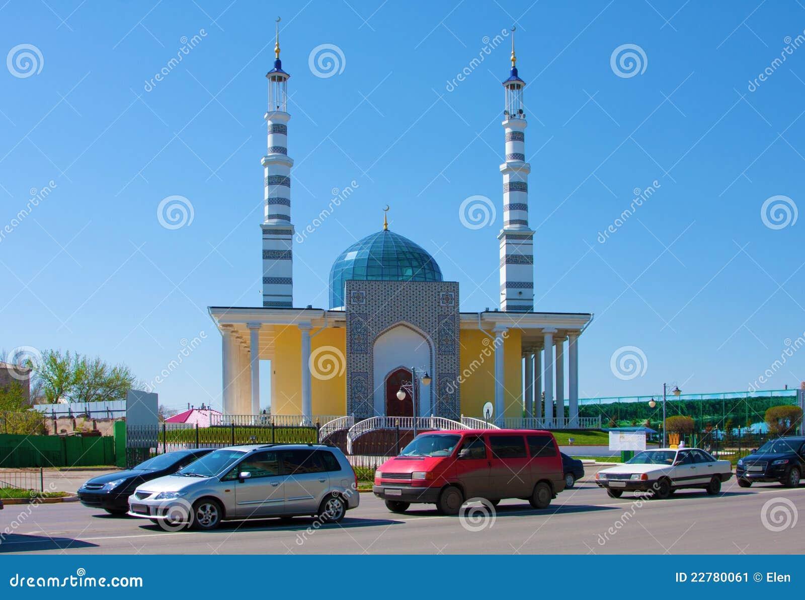 Moské i staden av Uralsk, Kasakhstan