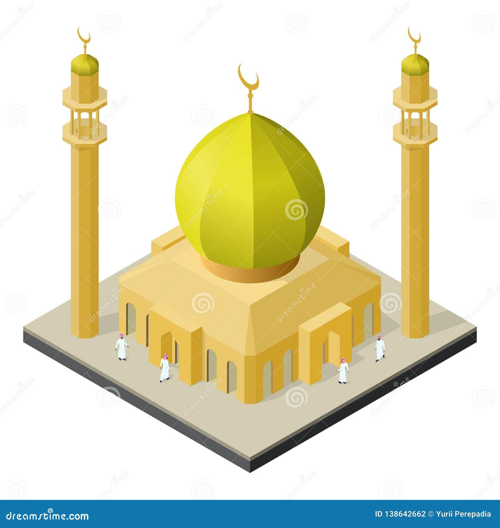Moské med minaret och isometrisk sikt för arabiska män