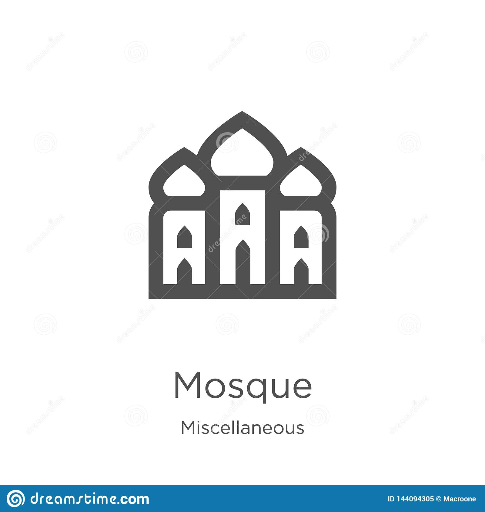 Moskésymbolsvektor från diverse samling Tunn linje illustration för vektor för moskéöversiktssymbol Översikt tunn linje moské