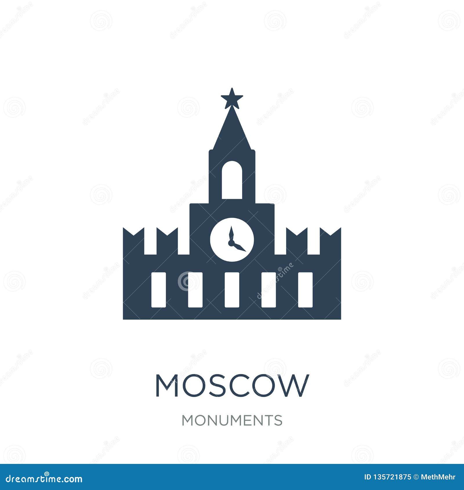 Moskau-Ikone in der modischen Entwurfsart Moskau-Ikone lokalisiert auf weißem Hintergrund einfaches und modernes flaches Symbol d