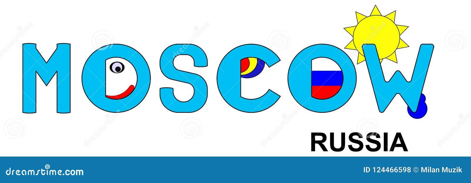 Moskau - Russland, abstrakte Aufschrift im Blau