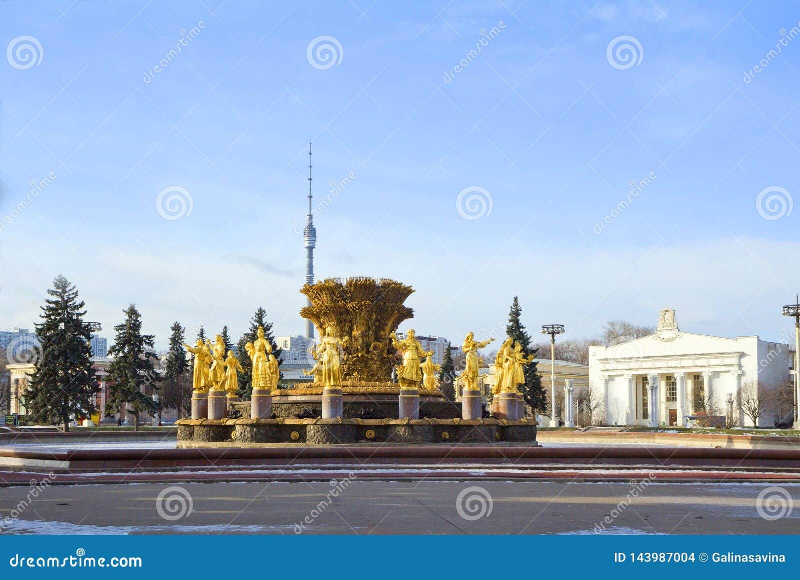 Moskau, Russland, Brunnen-'Freundschaft von Völkern auf VDNKh