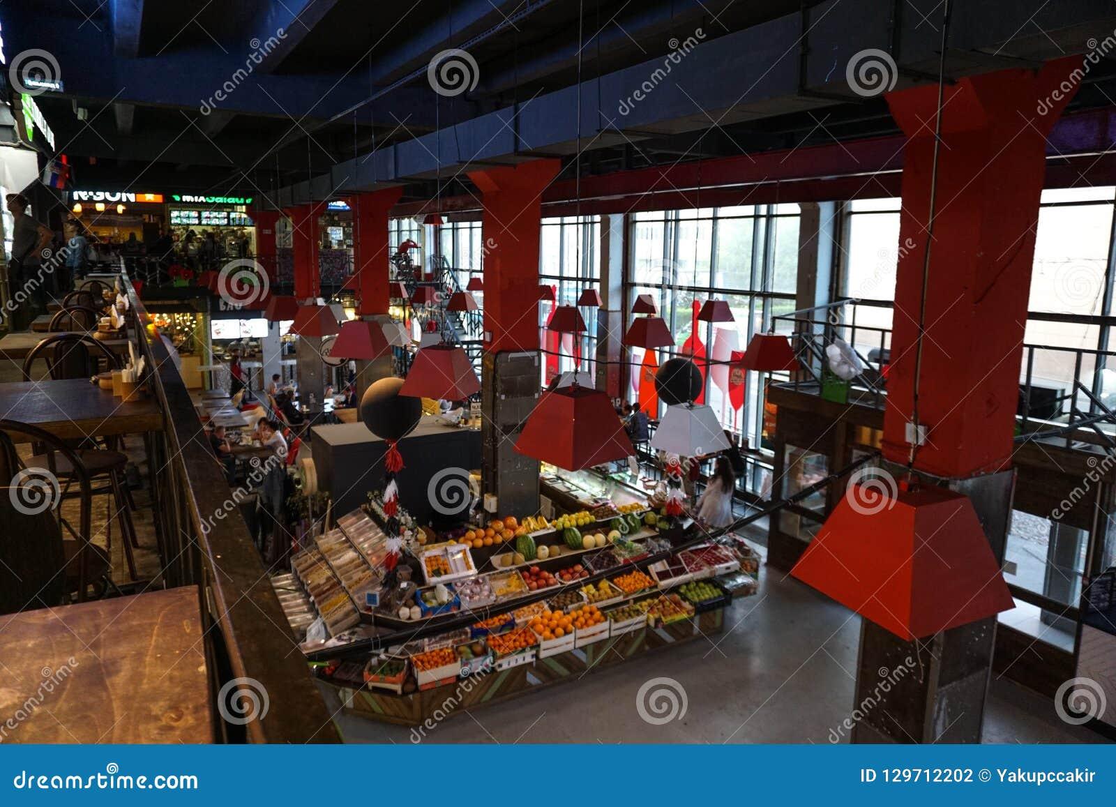 Moskau, Russland, bunter geschlossener Nahrungsmittelmarkt