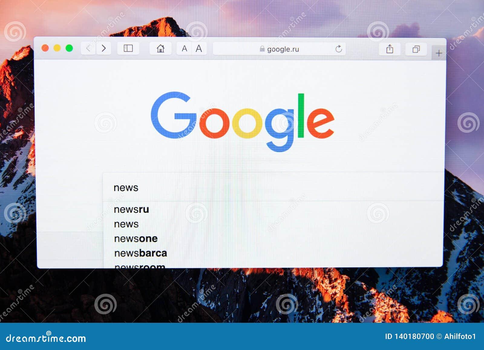 Moskau/Russland - 20. Februar 2019: Suchwortnachrichten in Google