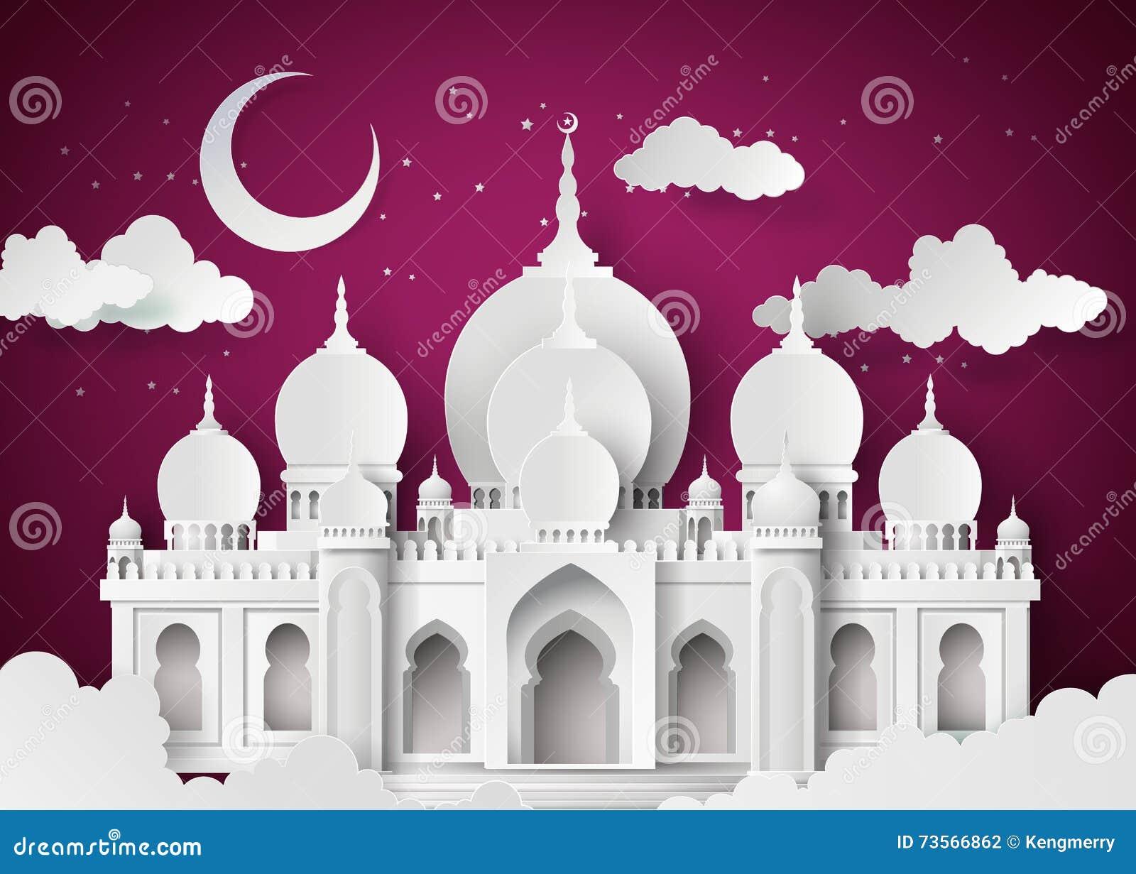Moskee in de nachtmaan