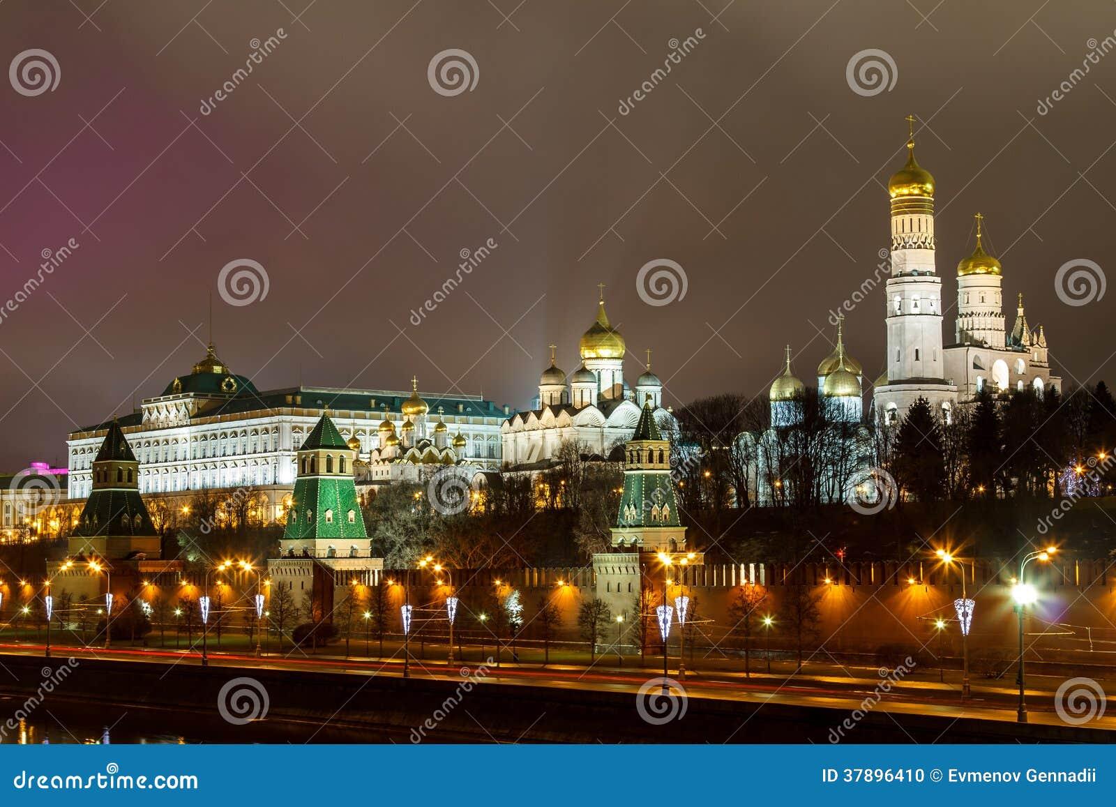 Moskou, het Kremlin, Moskou bij nacht