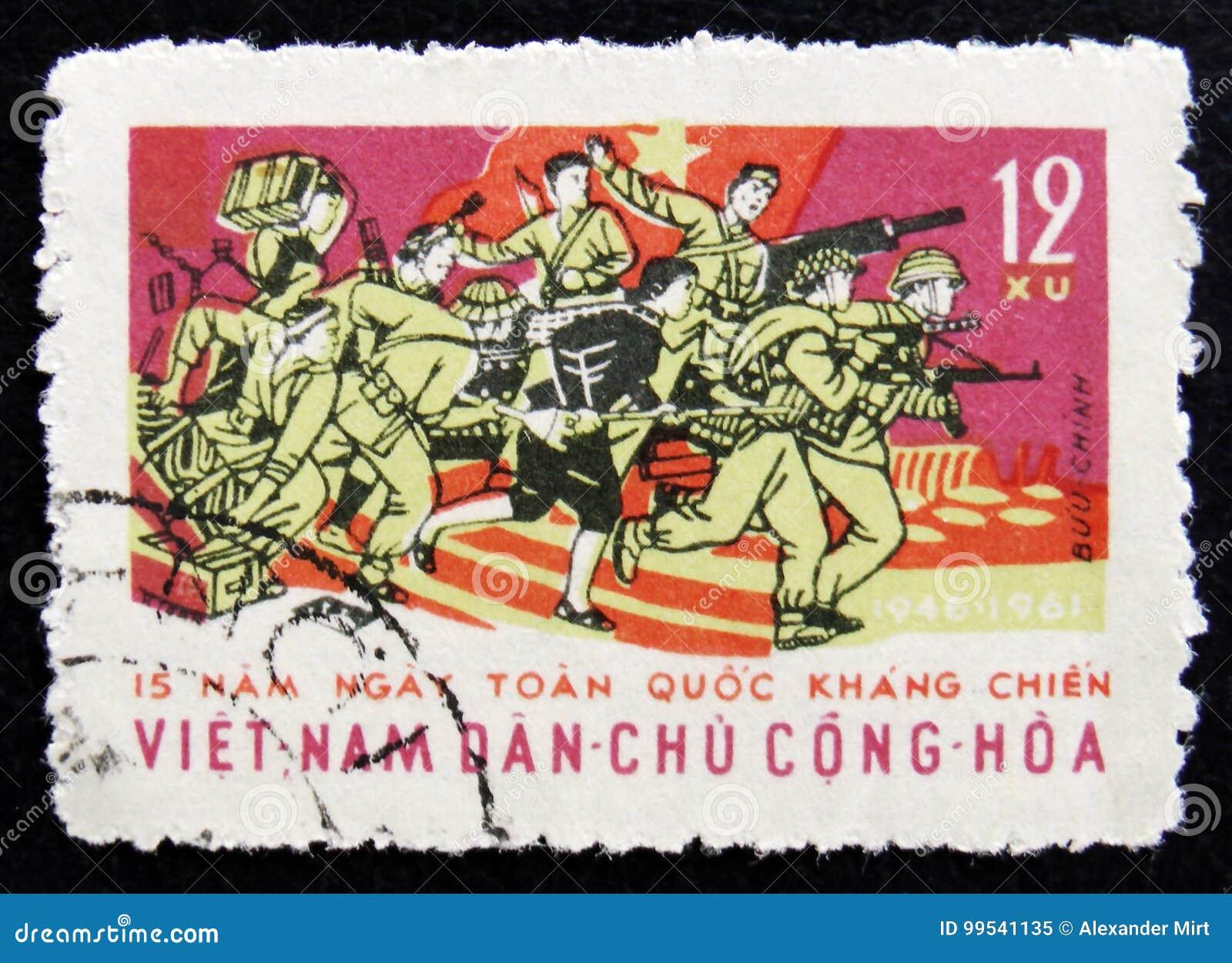 MOSKOU, RUSLAND - APRIL 2, 2017: Een postzegel in Vietnam wordt gedrukt dat
