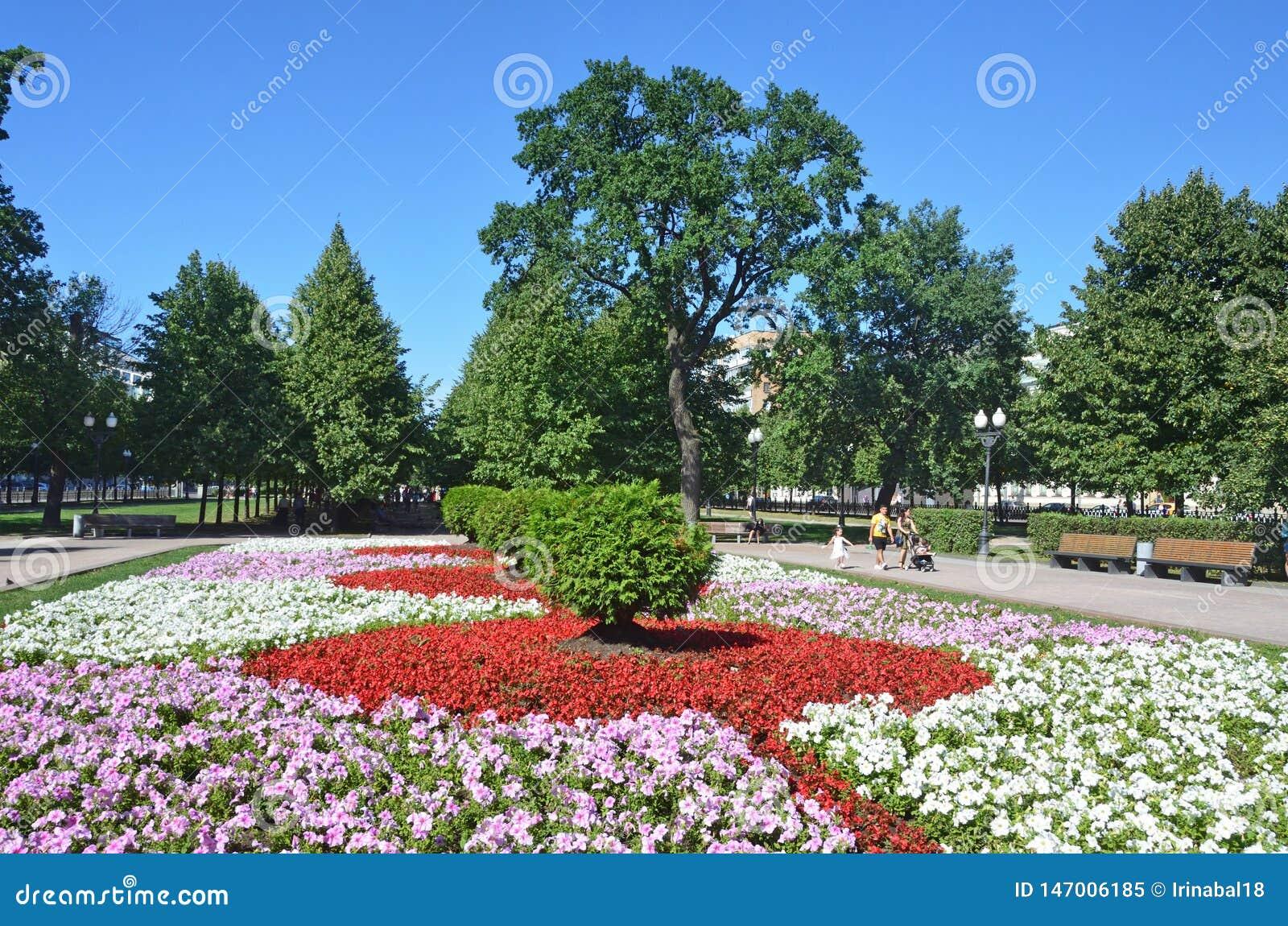 Moskou, Rusland, 11 Augustus, 2018 Mensen die dichtbij groot bloembed op Trubnaya-vierkant en Tsvetnoy-Boulevard in Moskou lopen