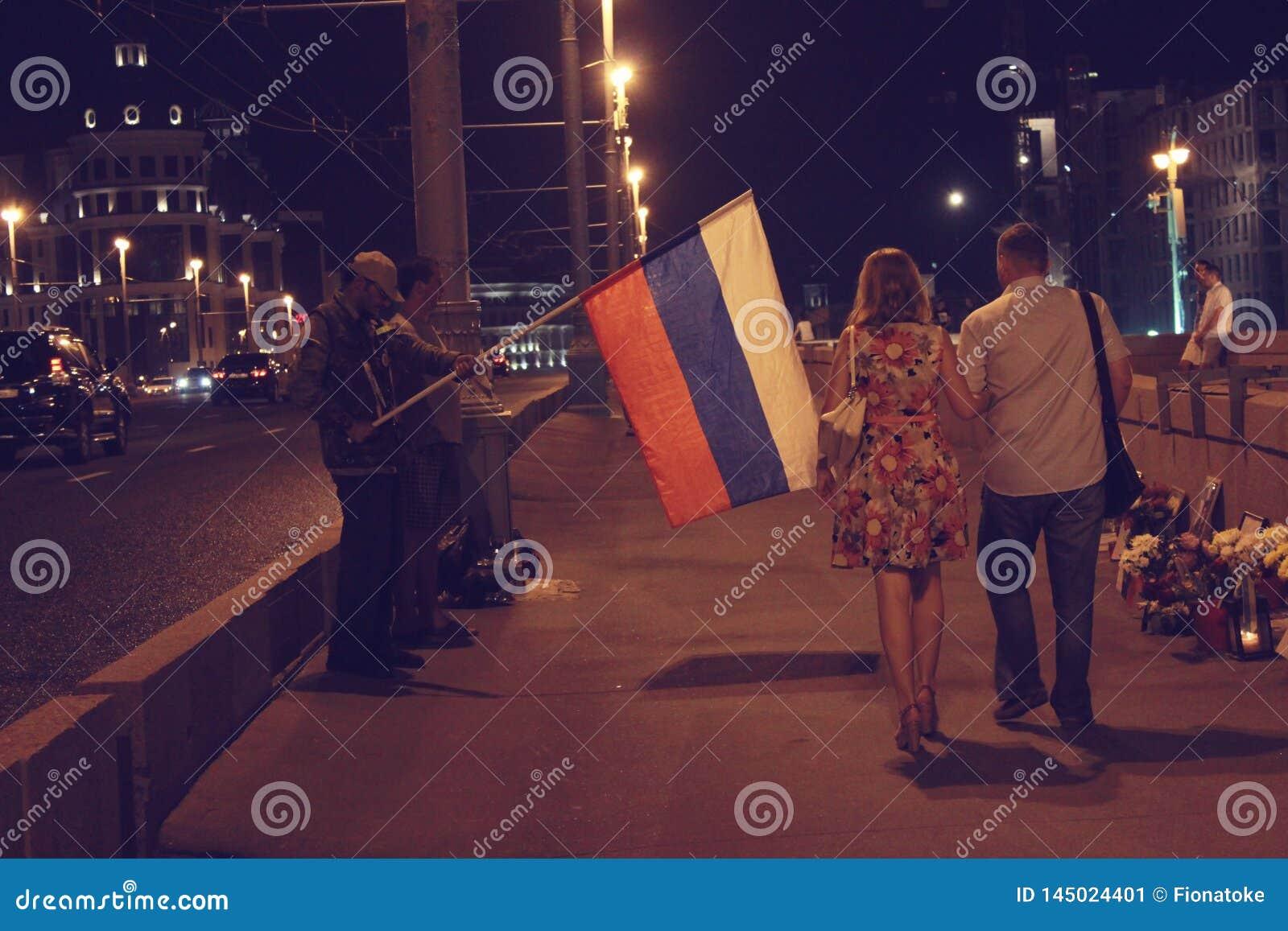 Moskou, Rusland, Augustus 2018, plaats van moord van afgevaardigde Nemtsov