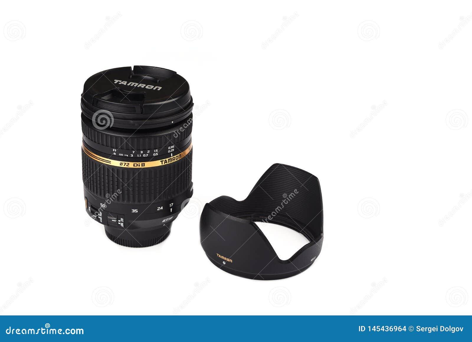 Moskou, Russische Federatie - 20 April, 2019 Nikon Tamron 17-50 mm f2 8 lens voor de Camera s van Nikon DSLR