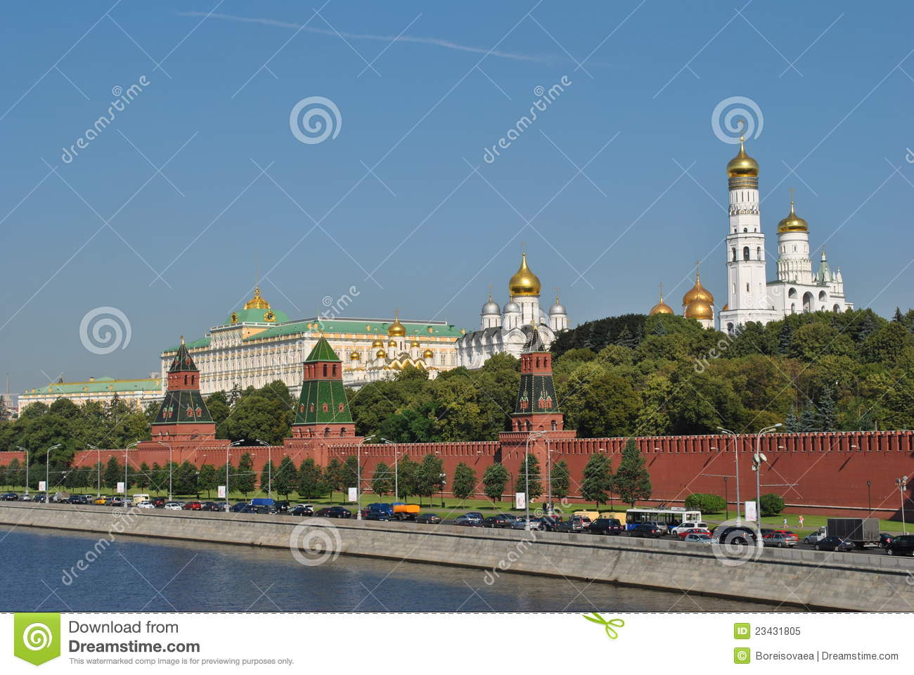 Moskow kremlin view from river, photo