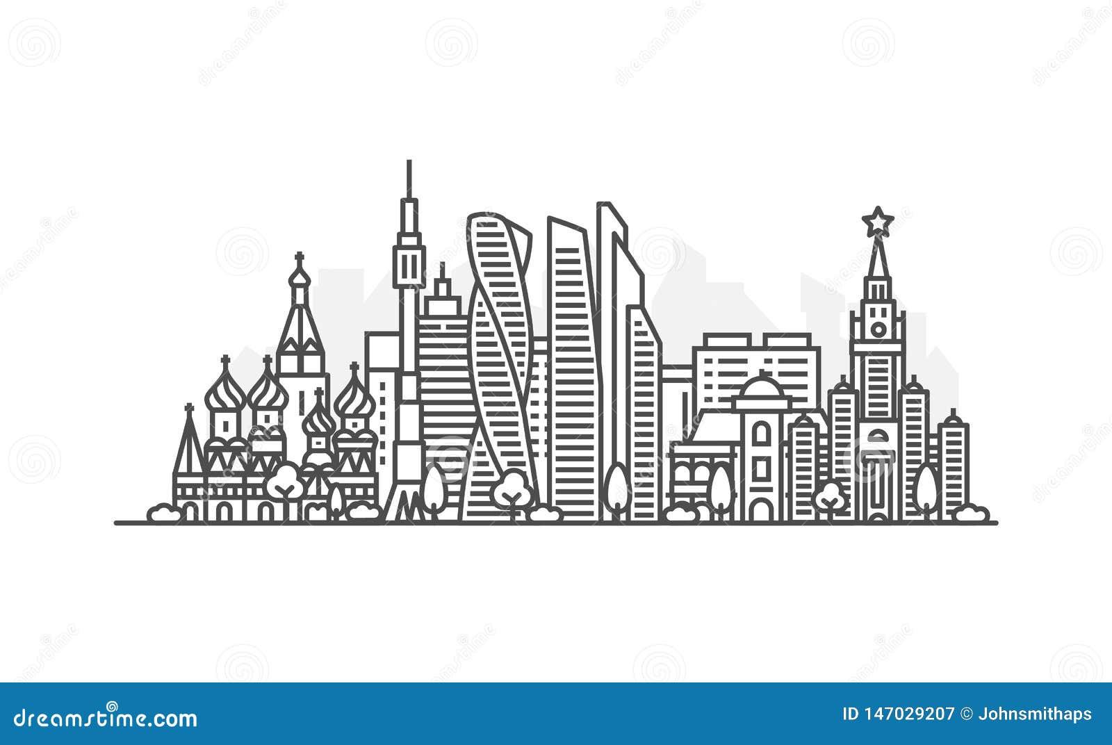 Moskwa, Rosja architektury linii linia horyzontu ilustracja Liniowy wektorowy pejza? miejski z s?awnymi punktami zwrotnymi, miast