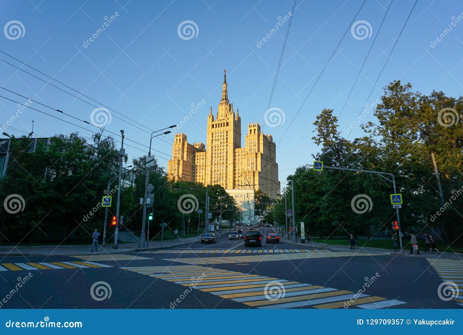 Moskwa, Rosja/- 08 06 2018: Ministerstwo Spraw Zagranicznych przy południem