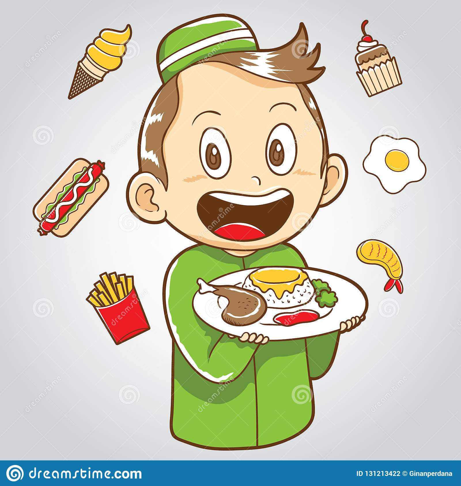 Moslem Kid With Junk Food And Healthy Food Stock Vector