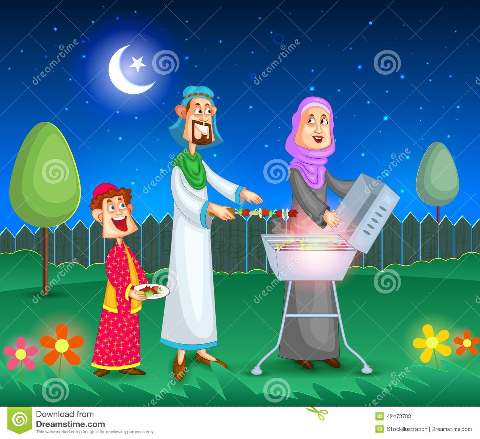 Moslemische Familie, die Grill tut