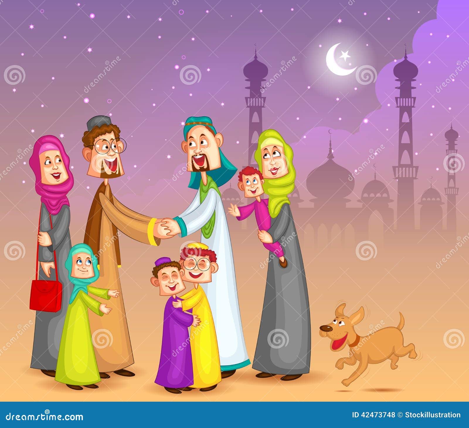 Moslemische Familien, die glückliches Eid wünschen