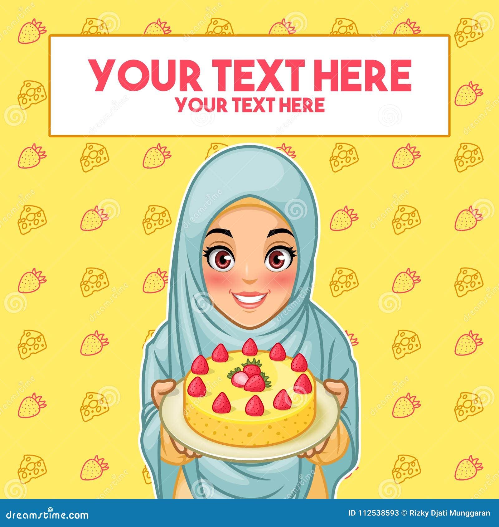 Moslemische Frau, die eine Platte des Nachtischs hält