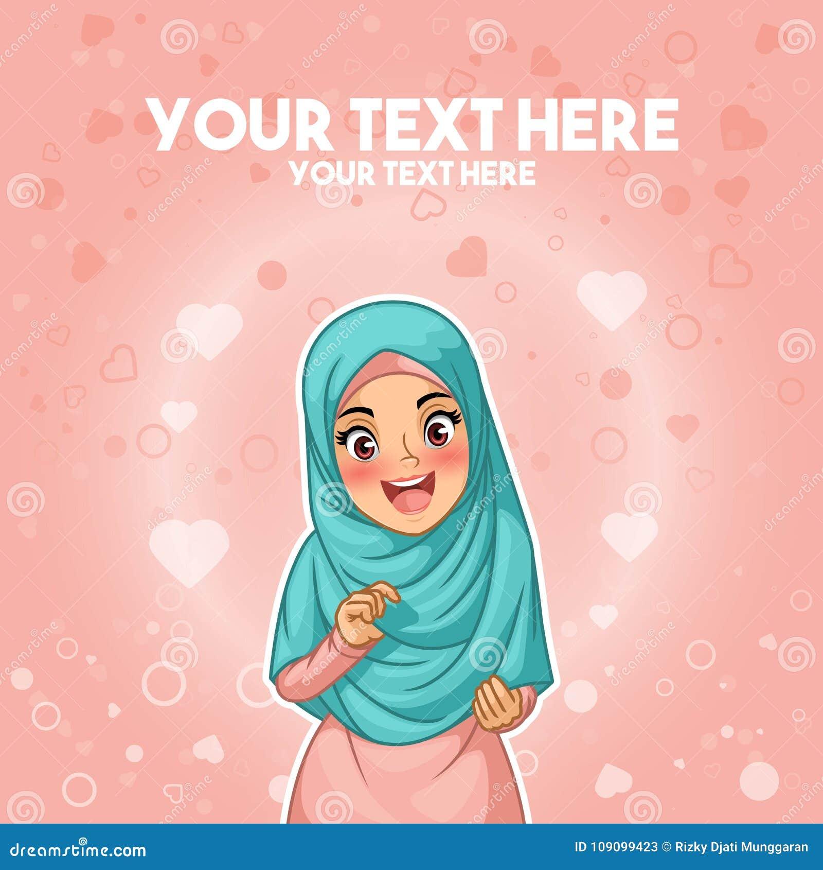 Moslemische Frau glücklich mit ihrem hijab durch das Halten ihres Kopftuches