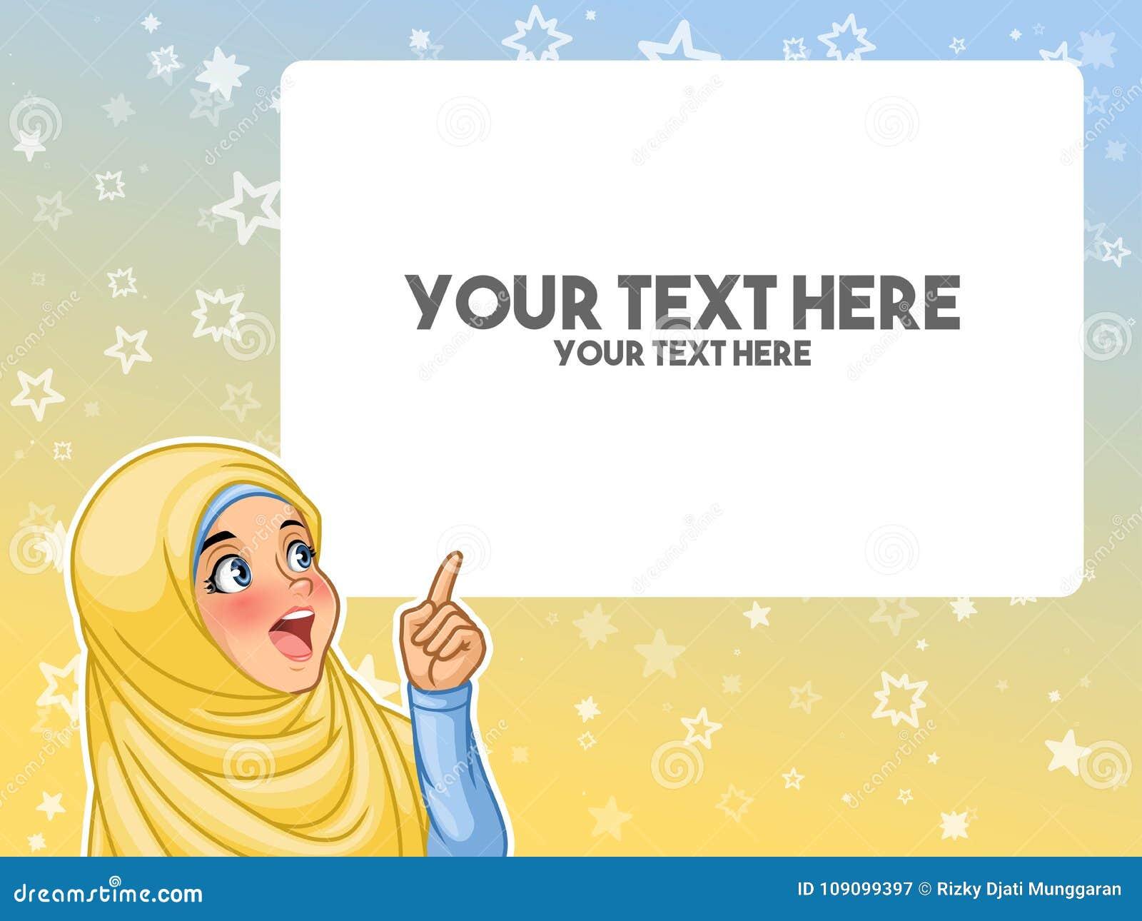 Moslemische Frau regte des Fingers auf leeres copyspace oben zeigen auf