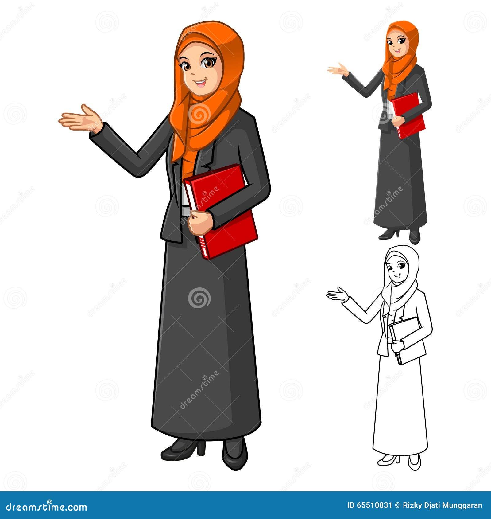 Moslemische Geschäftsfrau Wearing Orange Veil oder Schal mit den freundlichen Händen