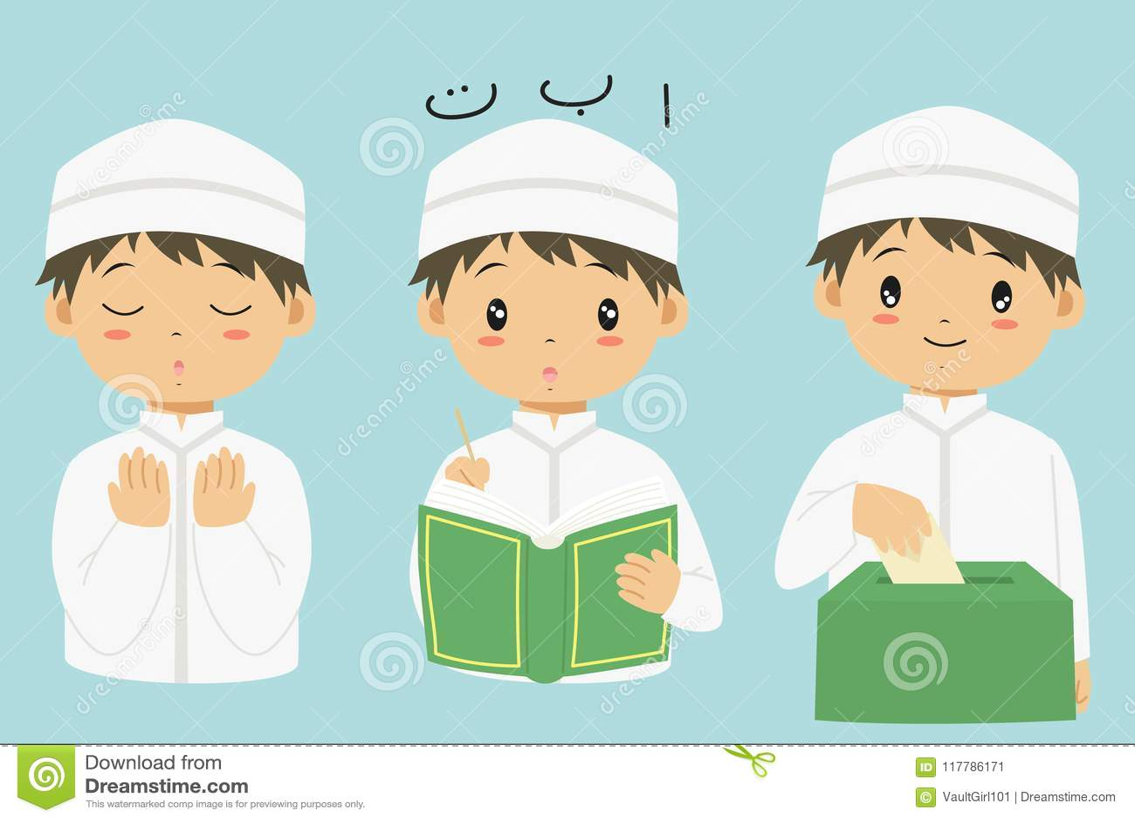 Moslemische Jungen-Karikatur-Vektor-Sammlung