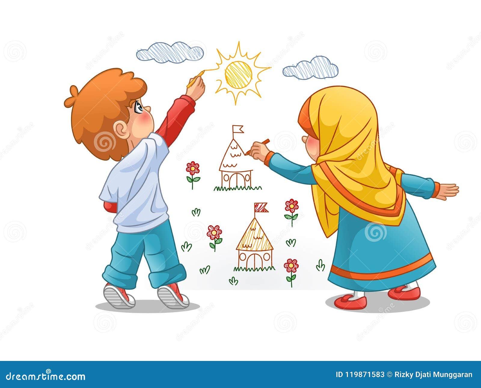 Moslemische Mädchen und Landschaften des Jungen-abgehobenen Betrages auf den Wänden
