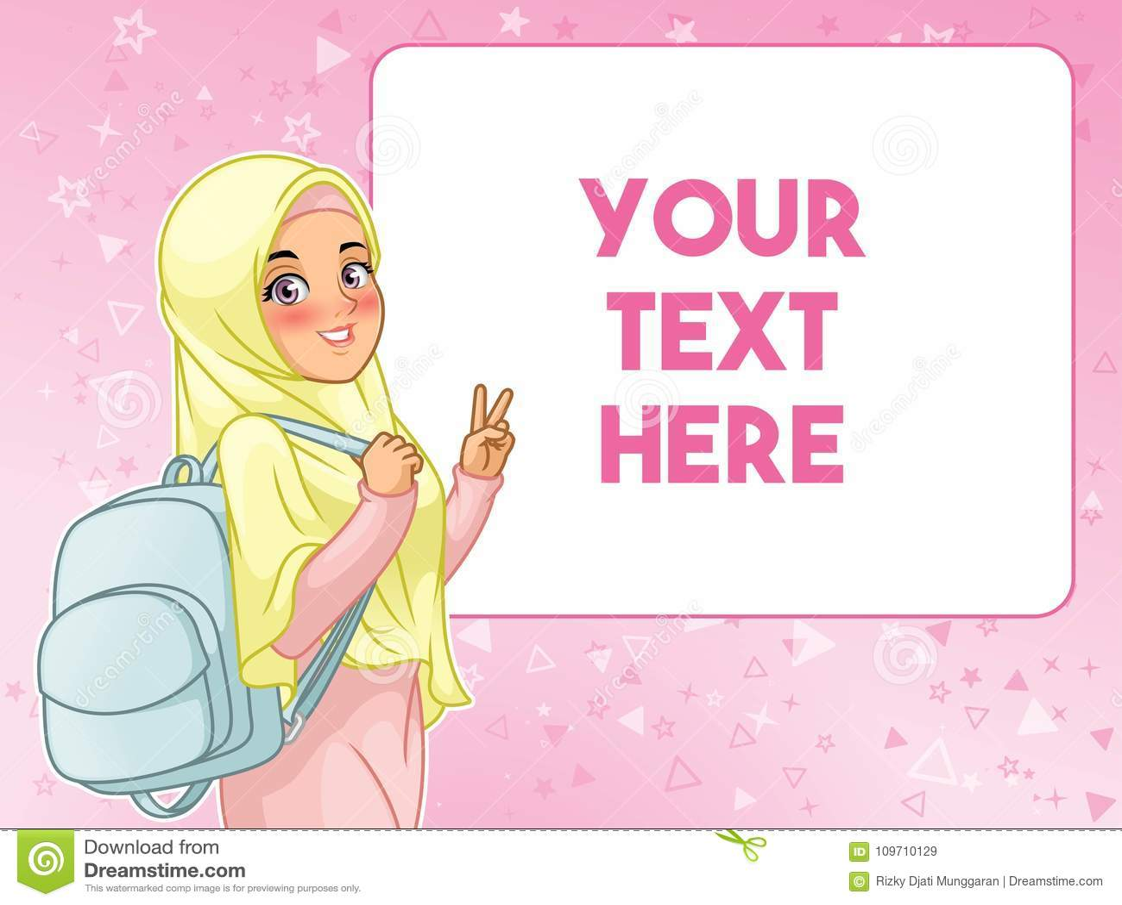 Moslemischer netter haltener Rucksack der Studentin