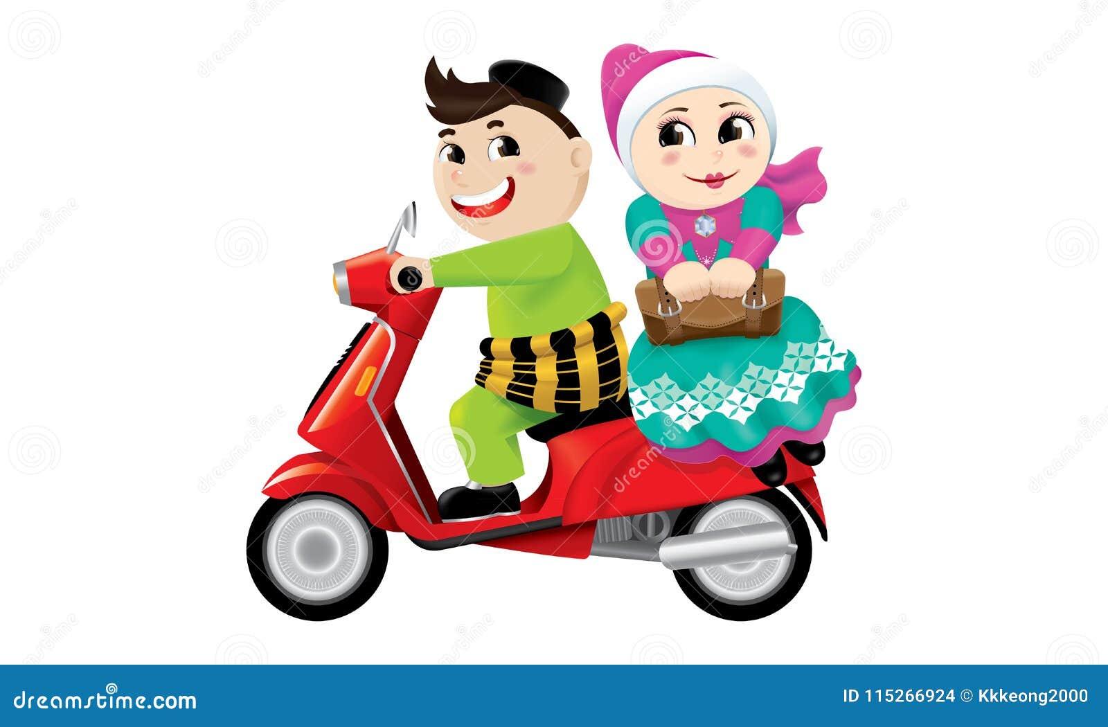Moslemisches Jungen- und Mädchenreiten auf einem Motorrad zusammen Getrennt