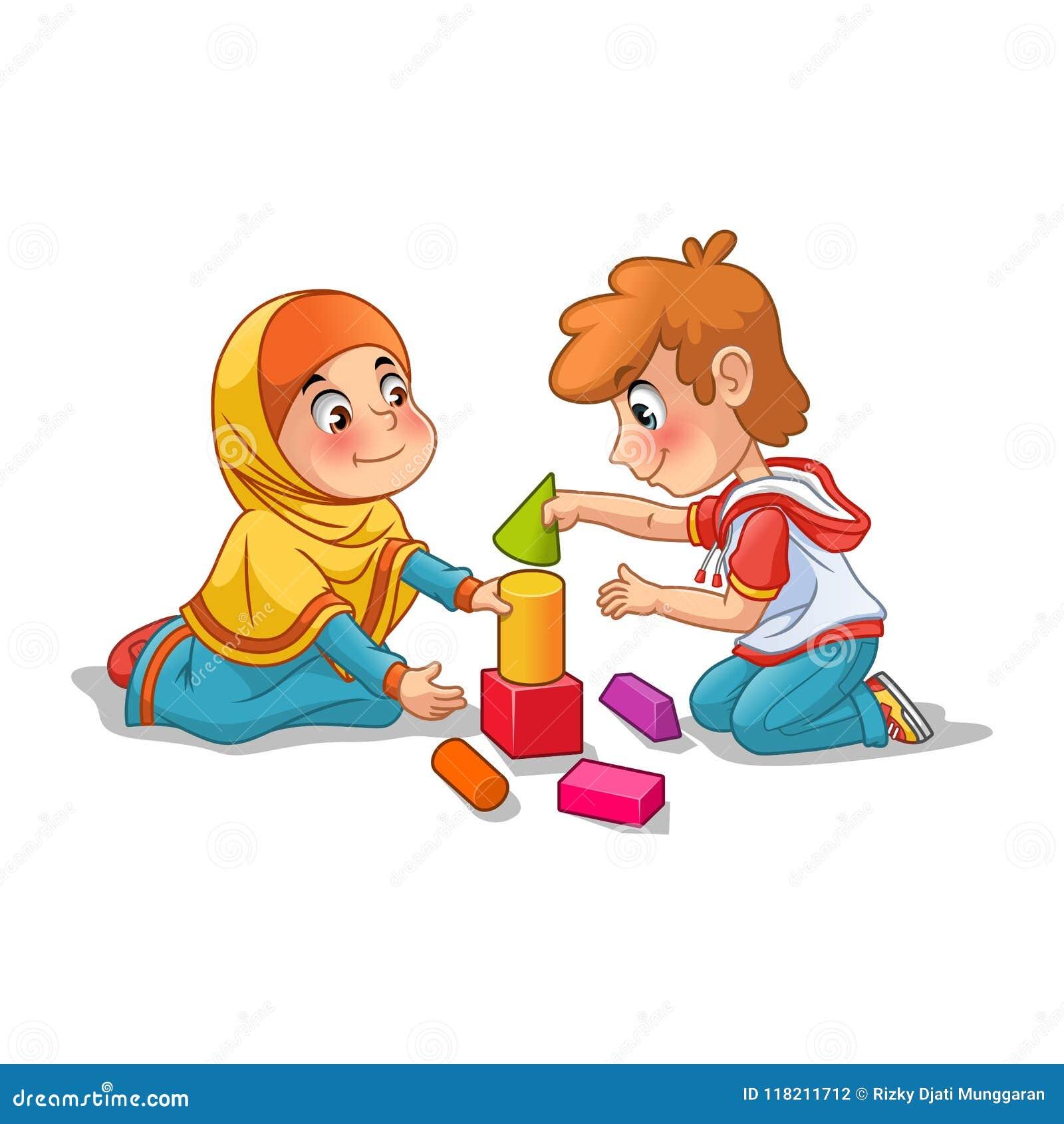 Moslemisches Mädchen und Junge, die mit Bausteinen spielt