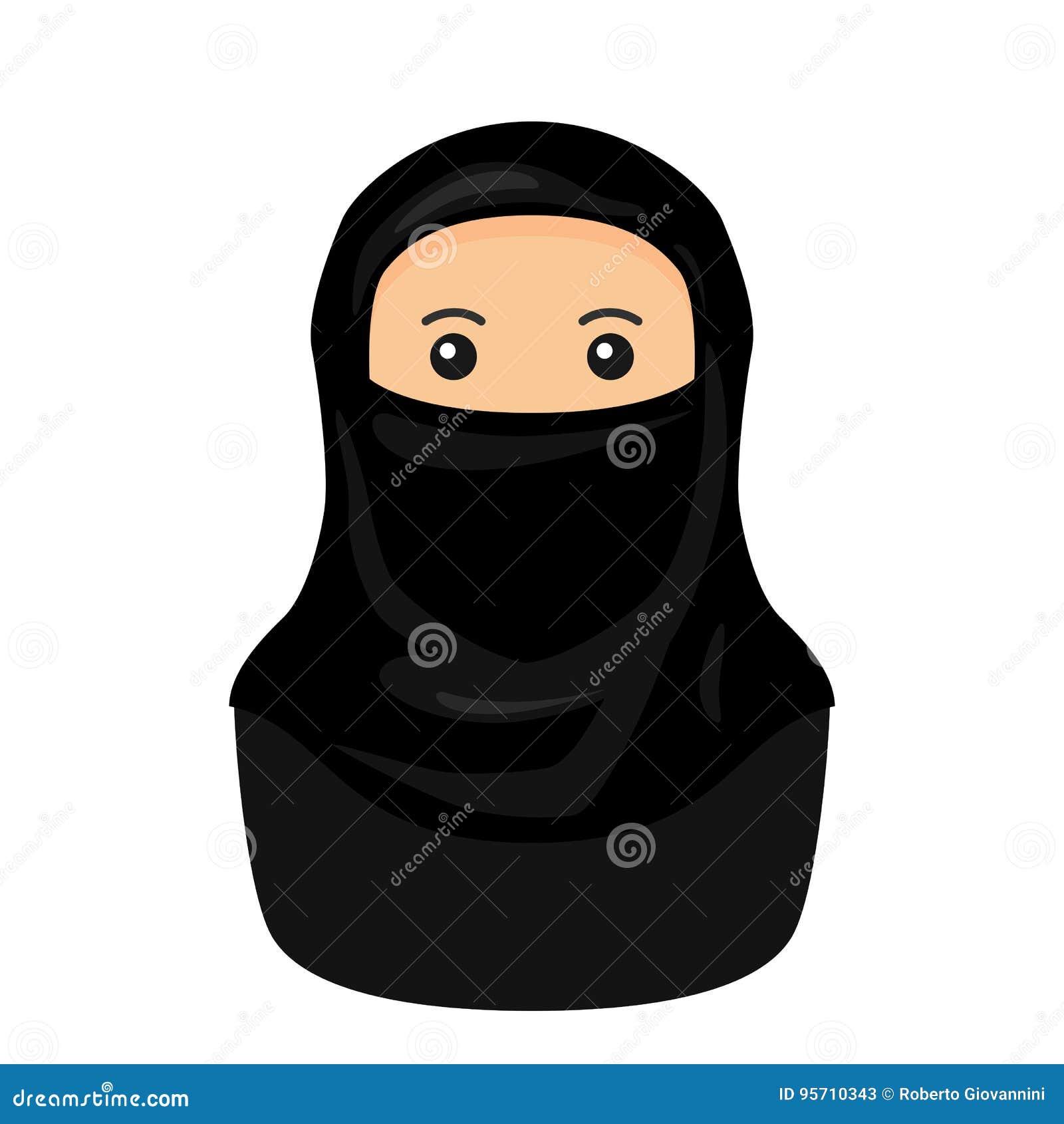 Moslimvrouw met Niqab-Avatar Vlak Pictogram