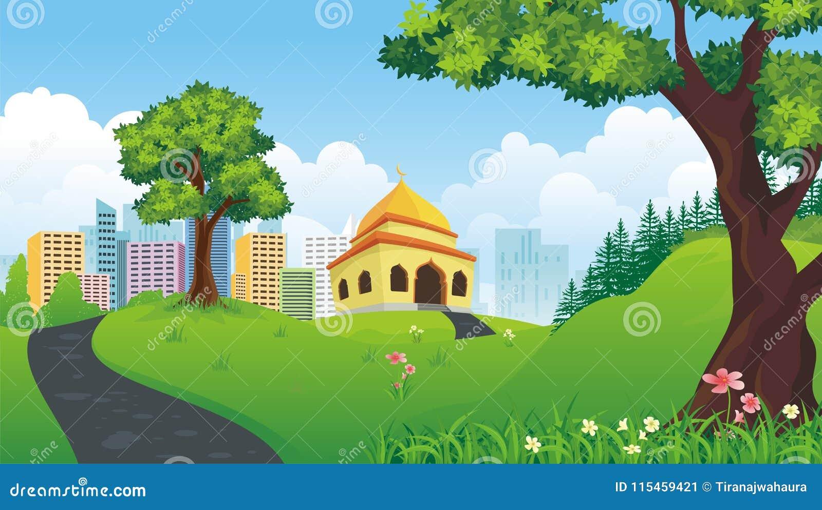 Mosquée de bande dessinée avec la nature et le paysage de ville