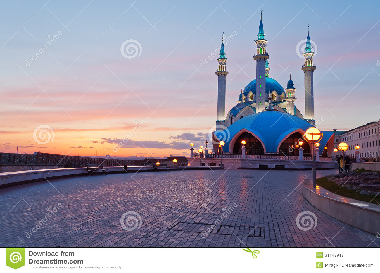 Mosquée de Kul Sharif à Kazan Kremlin au coucher du soleil. La Russie.