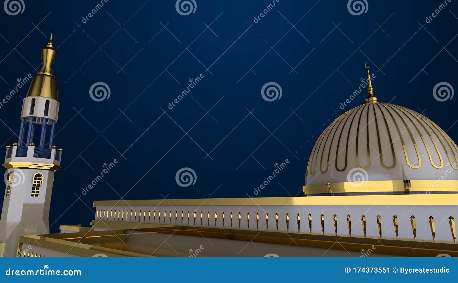 mosque background islamic wallpaper d rendering gold blue ramadan kareem top view 174373551