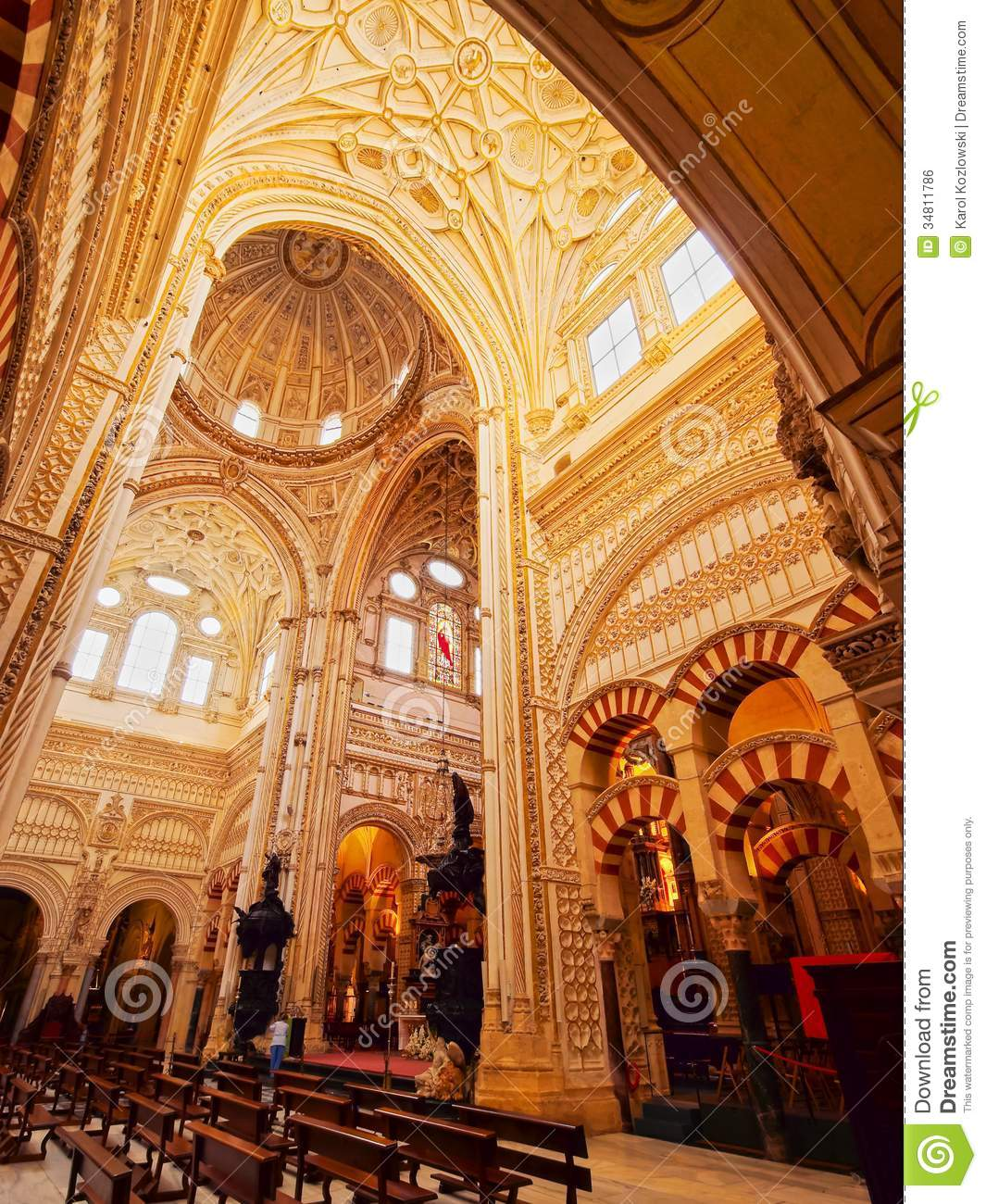 Mosque cathedral in cordoba spain royalty free stock for Interior mezquita de cordoba