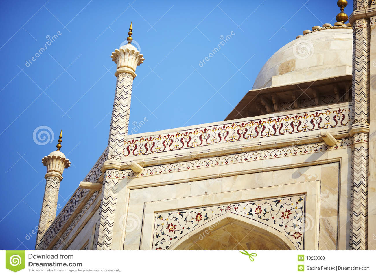 Mosque Detail Of The Dome And Pillars Royalty Free Stock