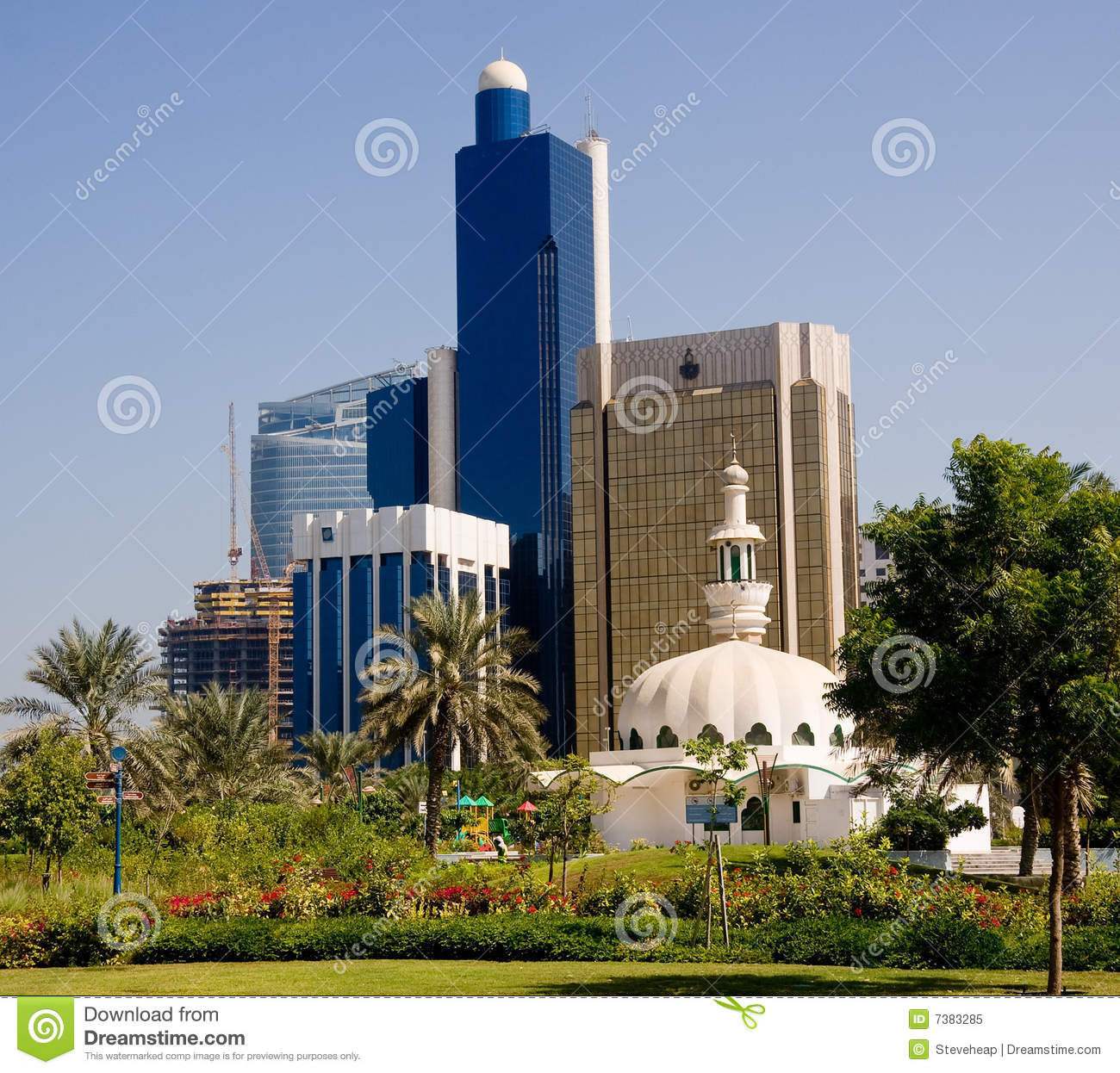 Mosque in front of office buildings in Abu Dhabi