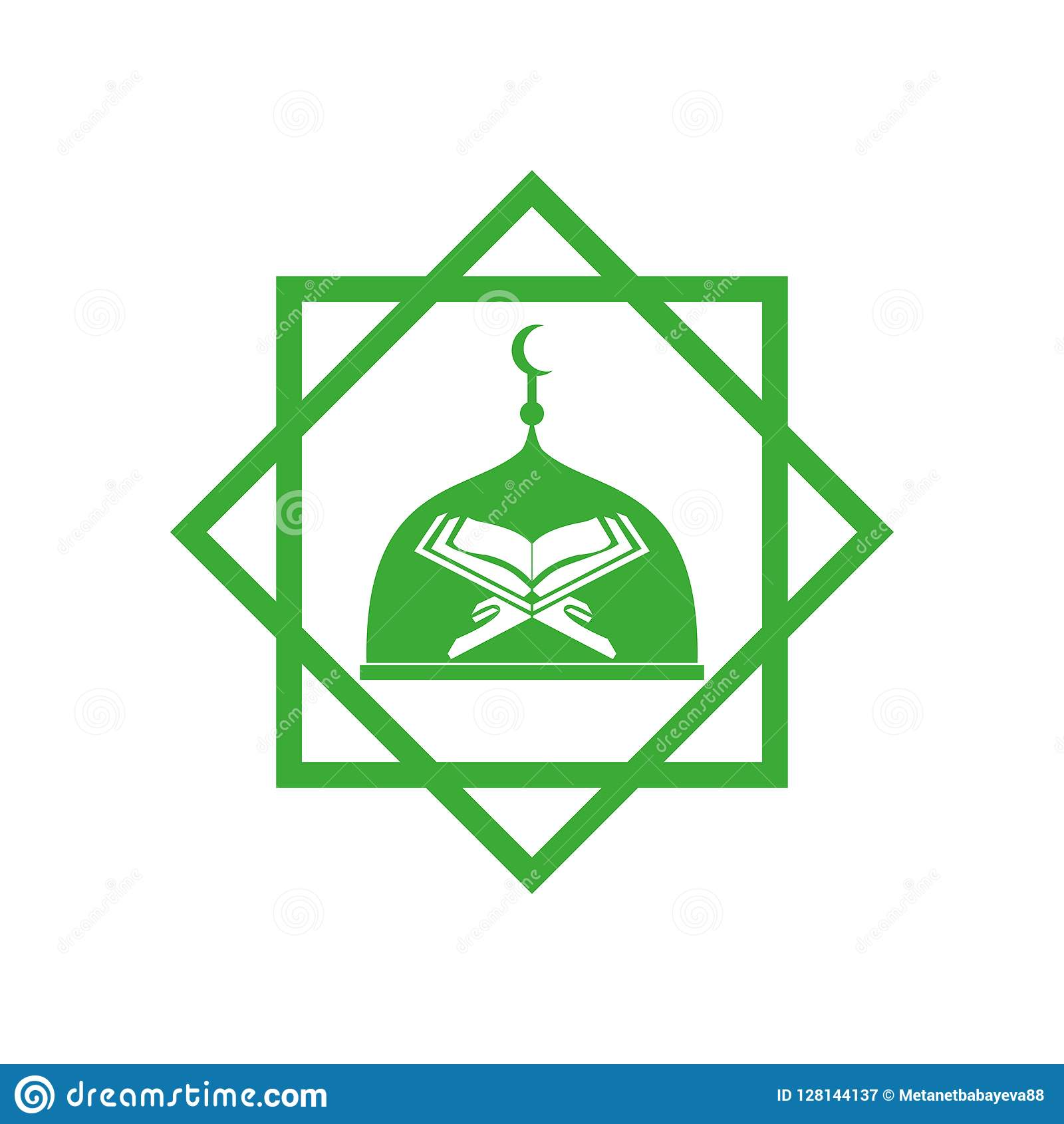 Mosque and kuran vector icon white background..